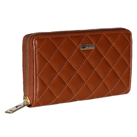 RNW-009 Tan Quilted Zip Around Wallet