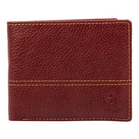 10087 Maroon Contrast Stitched Wallet