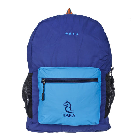 9268 Blue & Light Blue Foldable Backpack