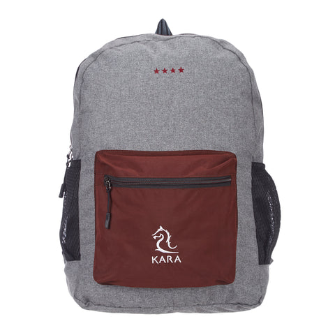 Grey & Brown Foldable Backpack