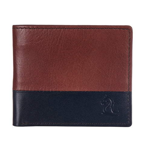 10109 Tan & Blue Bifold Wallet
