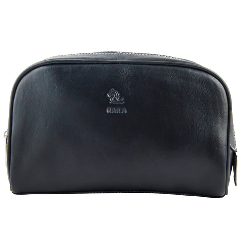Malia Black Leather Wash Bag for Men and Women