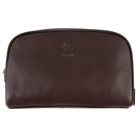 Malia Tan Leather Wash Bag for Men and Women
