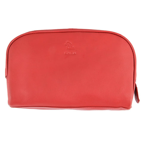 Malia Red Leather Wash Bag for Men and Women