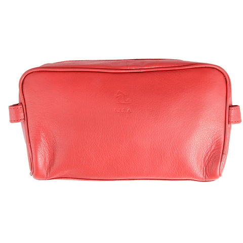 Ted Red Leather Wash Bag for Men