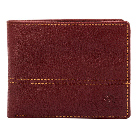 10086 Maroon Contrast Stitched Wallet