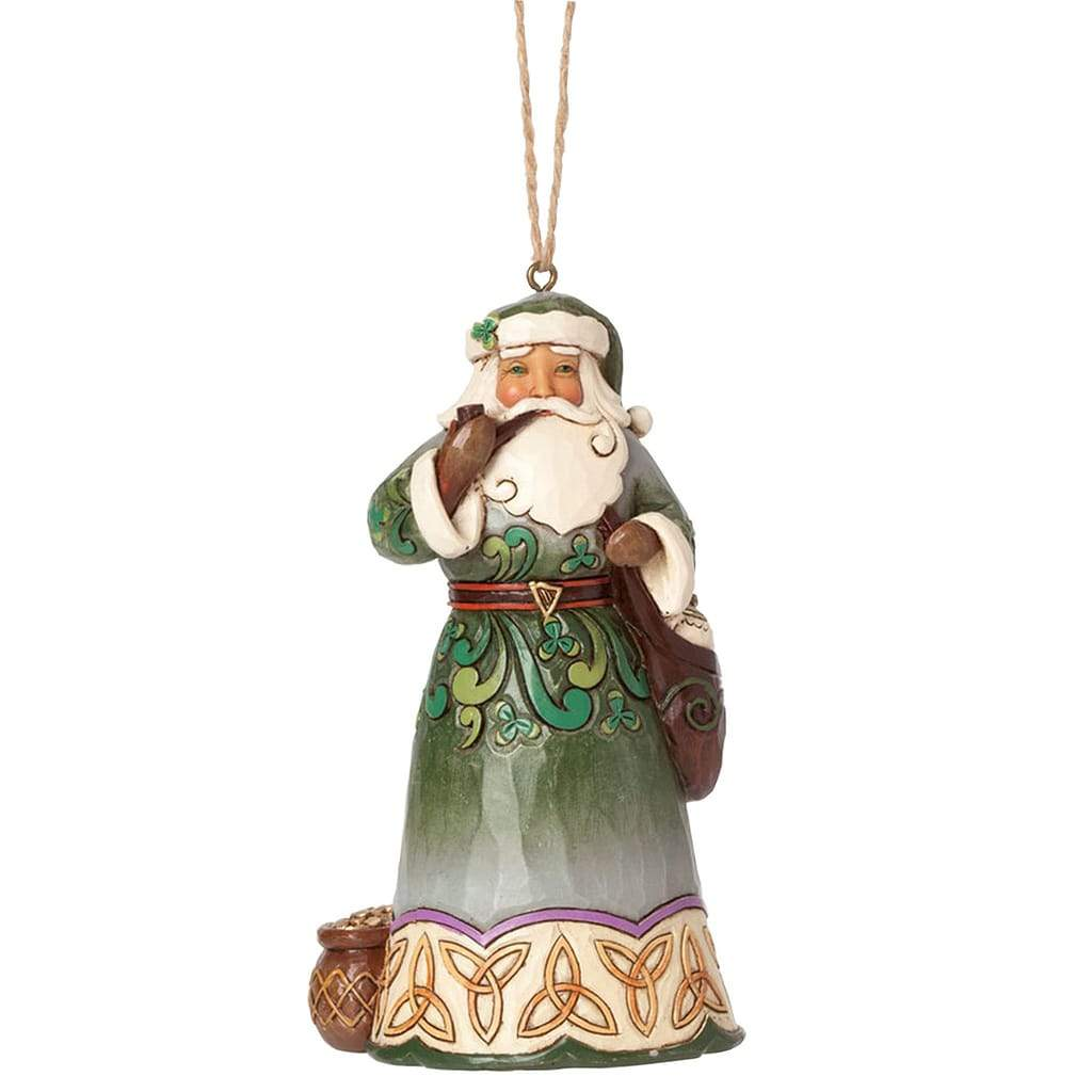 Heartwood Creek By Jim Shore Irish Santa with Pipe Ornament - Website Exclusive