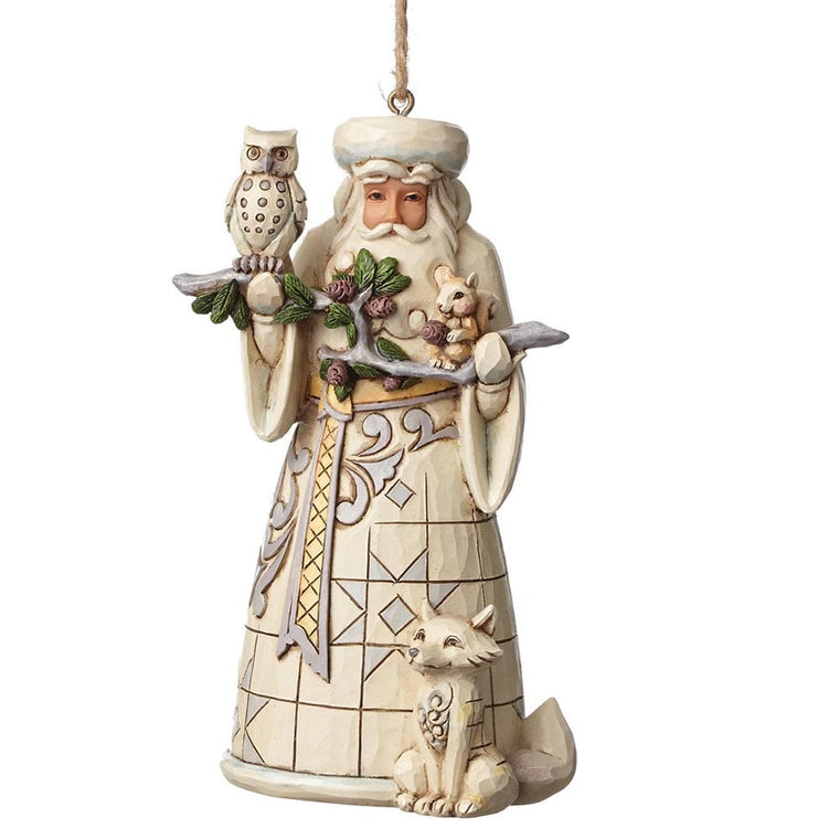 Heartwood Creek by Jim Shore White Woodland Santa - Hanging Ornament