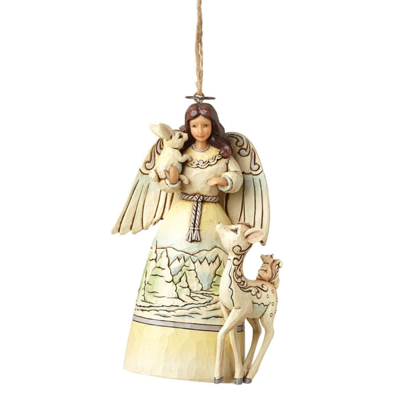 White Woodland Angel - Hanging Ornament - Heartwood Creek by Jim Shore