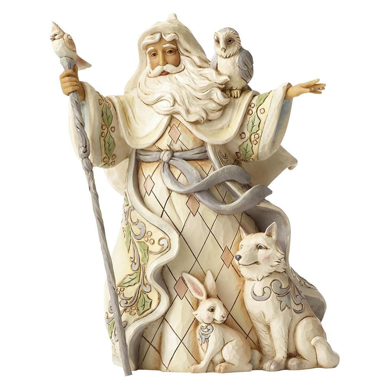 Heartwood Creek by Jim Shore One Love For All - White Woodland Santa with Cane Figurine