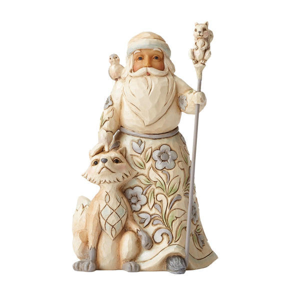 Gracious Giving To All (Small White Woodland Santa) - Website Exclusive