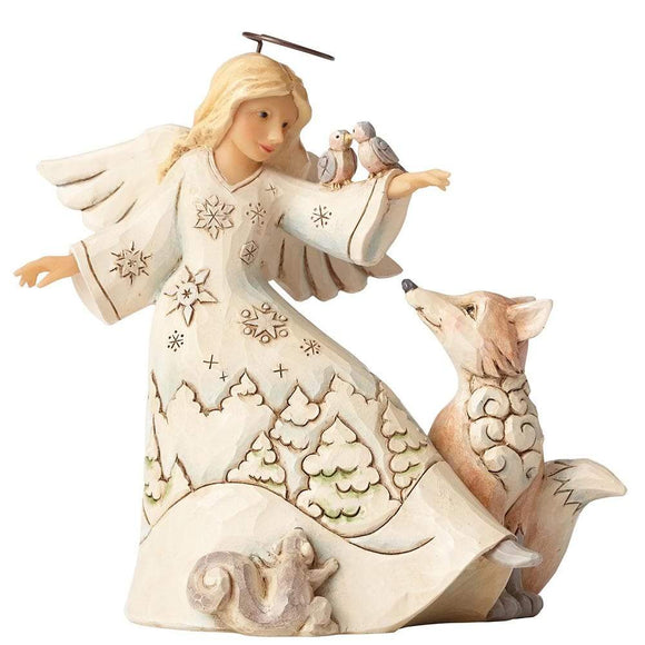 Heartwood Creek by Jim Shore Blessed Be All Creatures - White Woodland Angel - Website Exclusive
