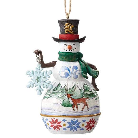 Heartwood Creek by Jim Shore Mini Snowman With Snowflake - Hanging ornament