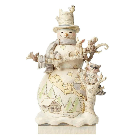 Heartwood Creek by Jim Shore White Woodland Snowman Statue