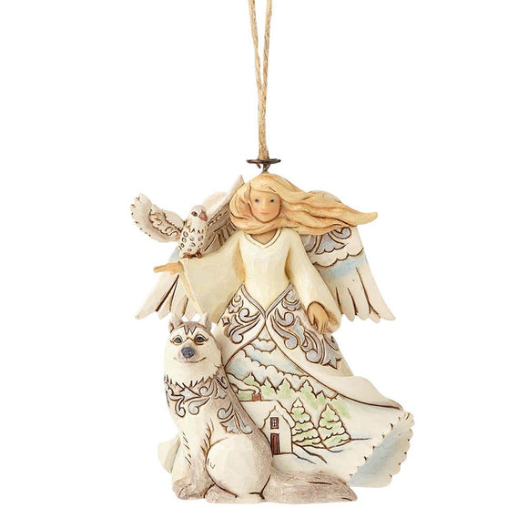 (SOLD OUT) Heartwood Creek by Jim Shore White Woodland Angel - Hanging Ornament