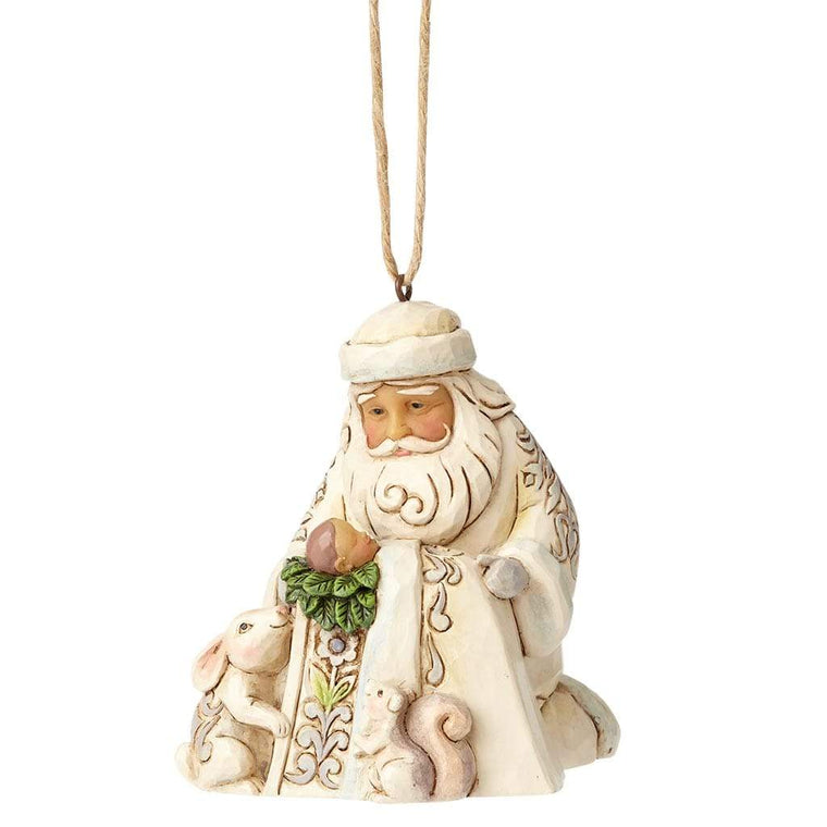 Heartwood Creek by Jim Shore White Woodland Santa with Baby Jesus (Hanging Ornament) - Website Exclusive