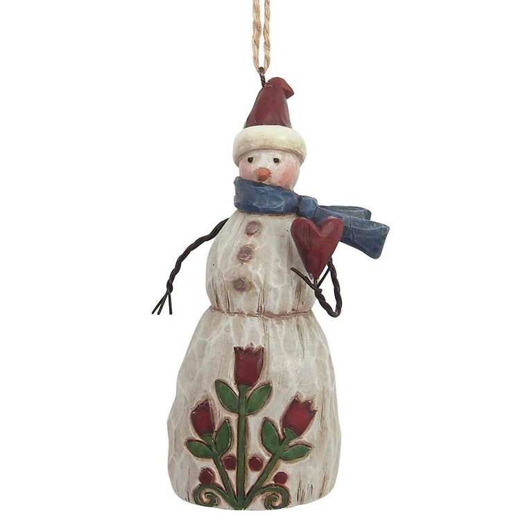 Heartwood Creek by Jim Shore Folklore Snowman with Heart - Hanging Ornament