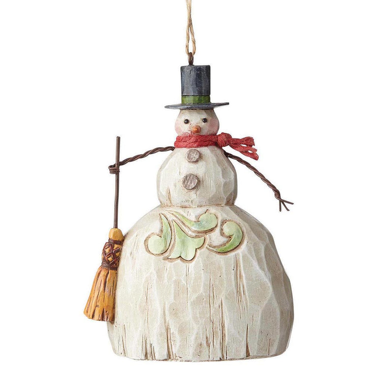 Heartwood Creek by Jim Shore Folklore Snowman With Broom - Hanging ornament