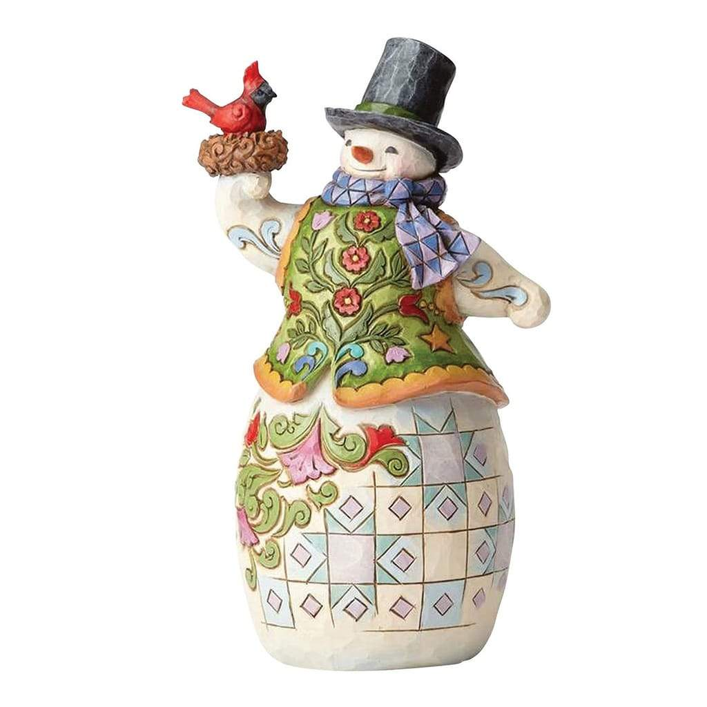 Heartwood Creek by Jim Shore Snowman with Scarf Cardinal Figurine - Website Exclusive
