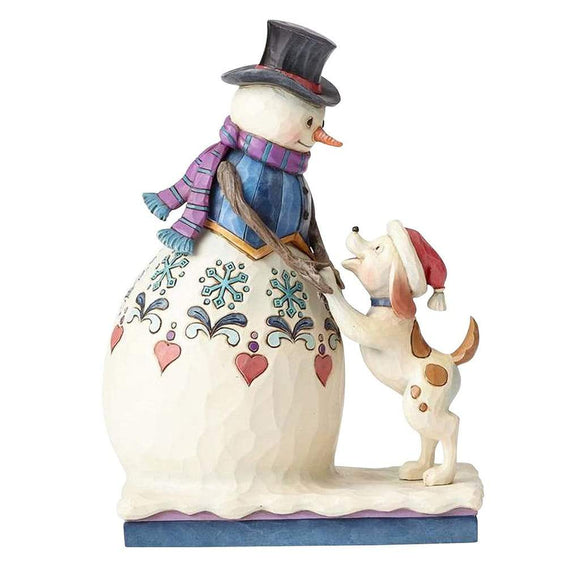Heartwood Creek by Jim Shore Snowman with Puppy Figurine - Website Exclusive