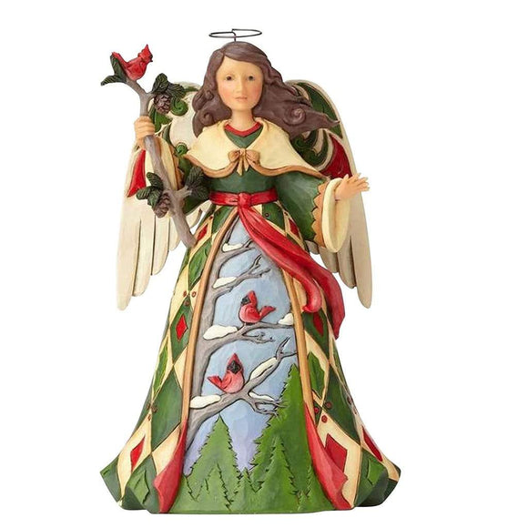 Heartwood Creek by Jim Shore Green Angel with Cardinal Figurine - Website Exclusive