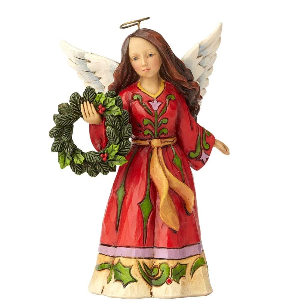 Angel with Wreath Figurine - Heartwood Creek by Jim Shore