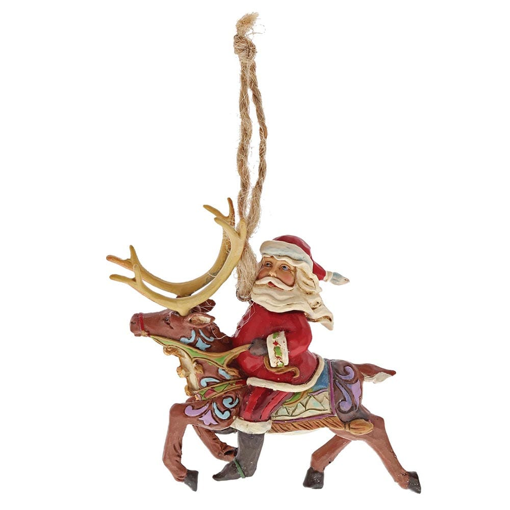 Heartwood Creek by Jim Shore Santa Riding Reindeer (Hanging ornament)