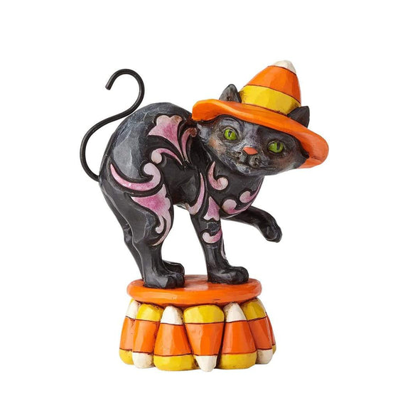 Heartwood Creek by Jim Shore Black Candy Corn Cat Figurine - Website Exclusive