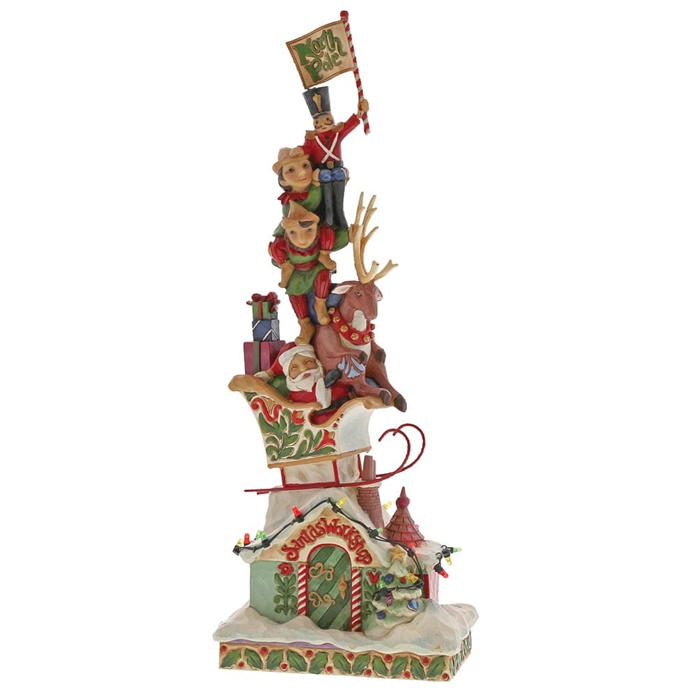 Heartwood Creek by Jim Shore Heaped with Holiday Cheer (Lit Stacked Santa Figurine)