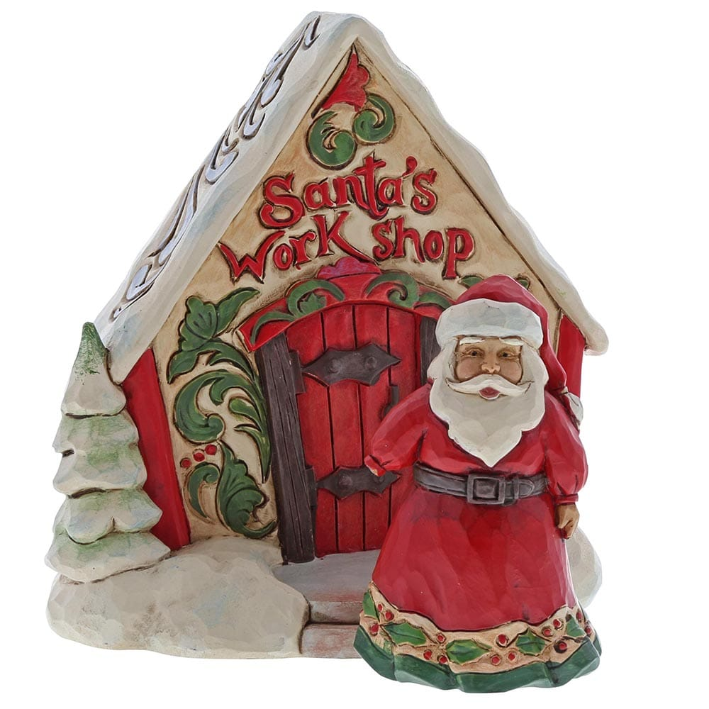Jim Shore Santa With Toy Shop Gift Set