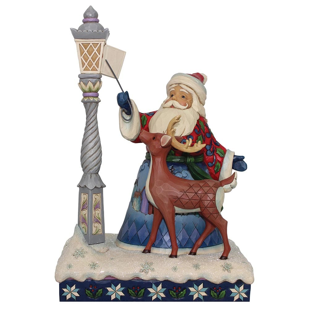 Santa by Lighted Lamppost Figurine- Heartwood Creek by Jim Shore