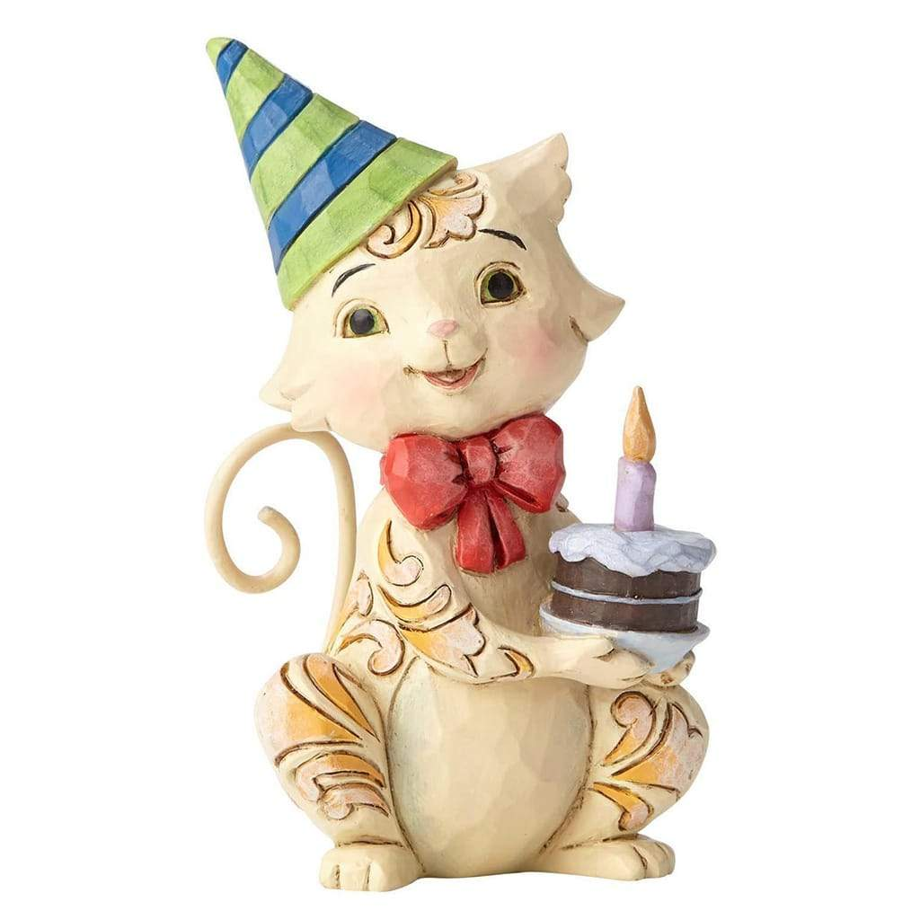Heartwood Creek by Jim Shore Birthday Cat Mini Figurine - Website Exclusive