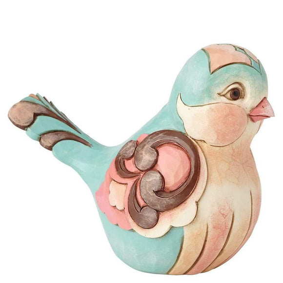 Heartwood Creek by Jim Shore Aqua and Coral Floral Bird Figurine - Website Exclusive