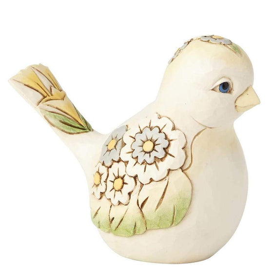 Heartwood Creek by Jim Shore White Floral Bird Figurine - Website Exclusive