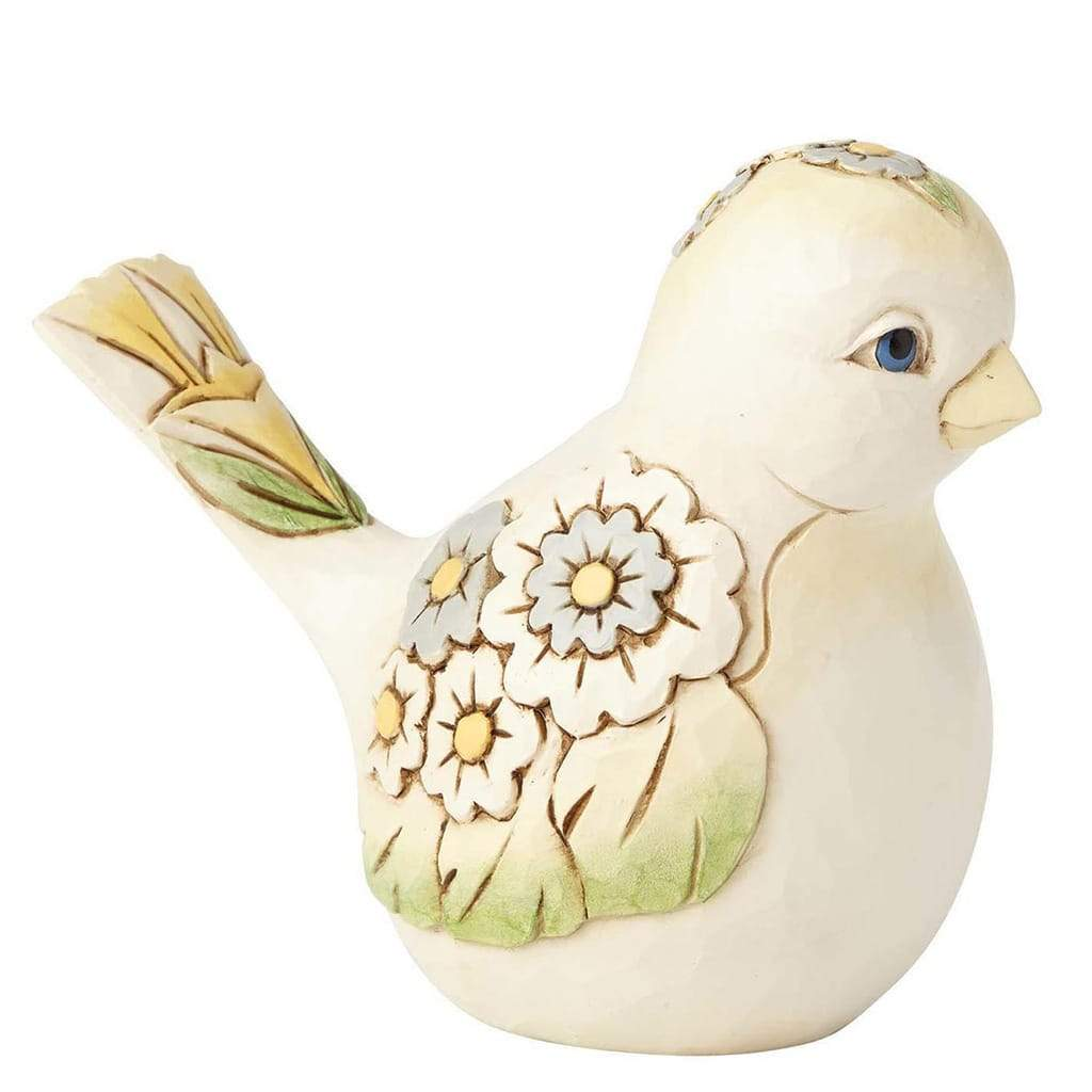 White Floral Bird Figurine - Heartwood Creek by Jim Shore