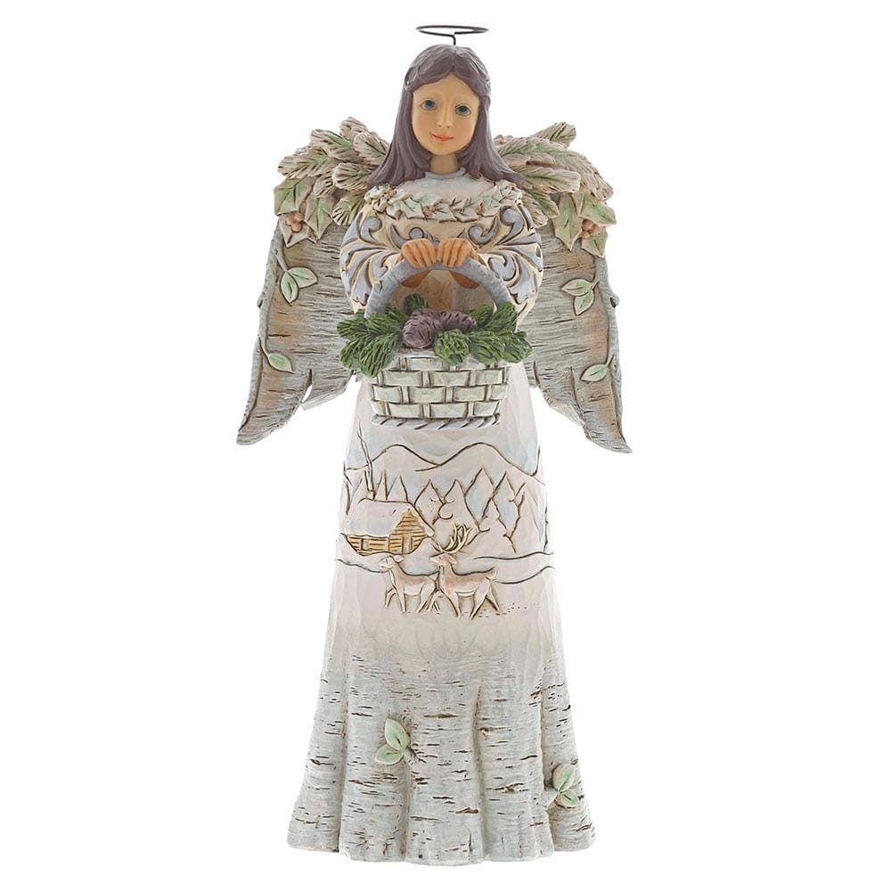 Heartwood Creek by Jim Shore Gentle Are Winter's Woodlands - White Woodland Angel W/ Basket Figurine