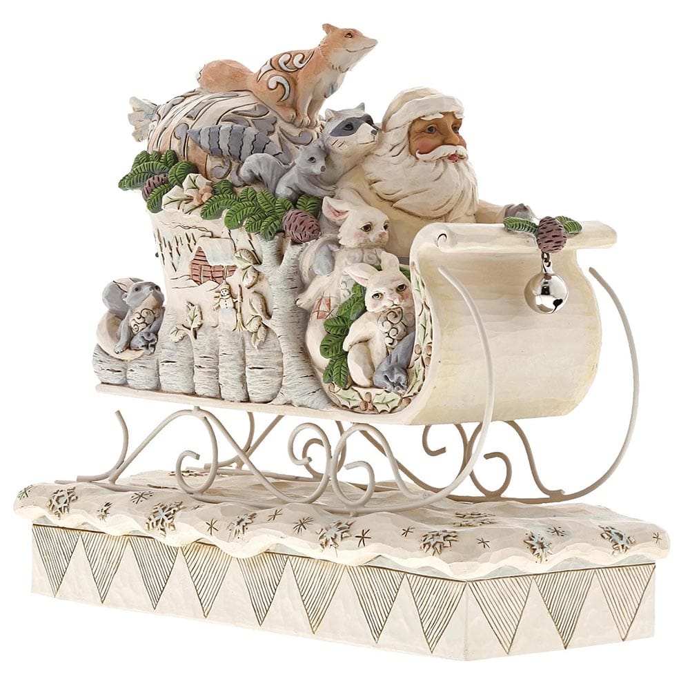 Heartwood Creek by Jim Shore Sleigh Ride Season - White Woodland Santa in Sleigh Figurine