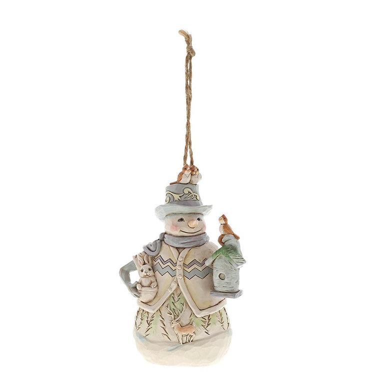 Heartwood Creek by Jim Shore White Woodland Snowman - Hanging Ornament