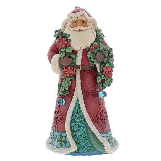 Heartwood Creek by Jim Shore Wrapped in Good Tidings - Winter Wonderland Santa with Garland Figurine