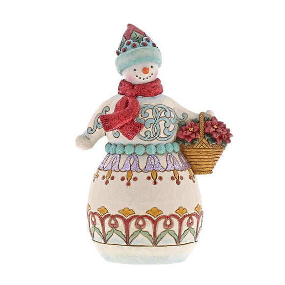Heartwood Creek Wonderland Snowman Holding Basket