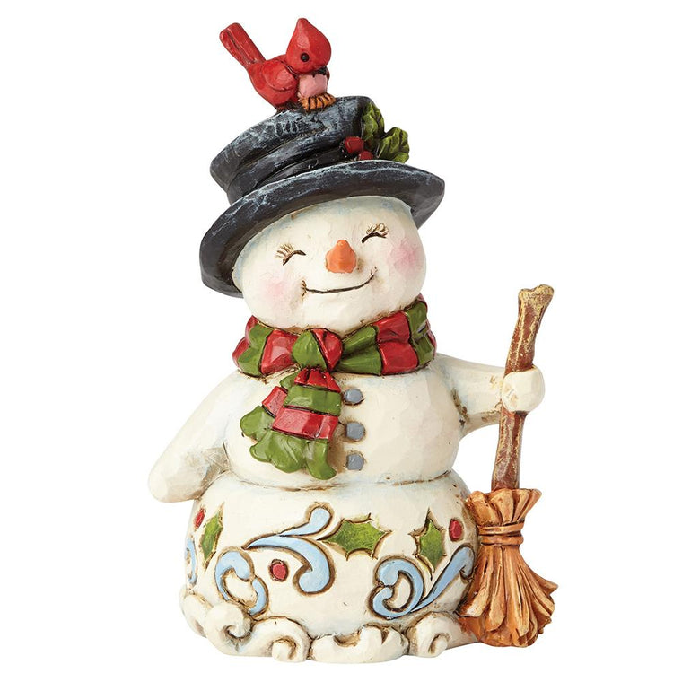 Snowman with Broom Mini Figurine - Heartwood Creek By Jim Shore