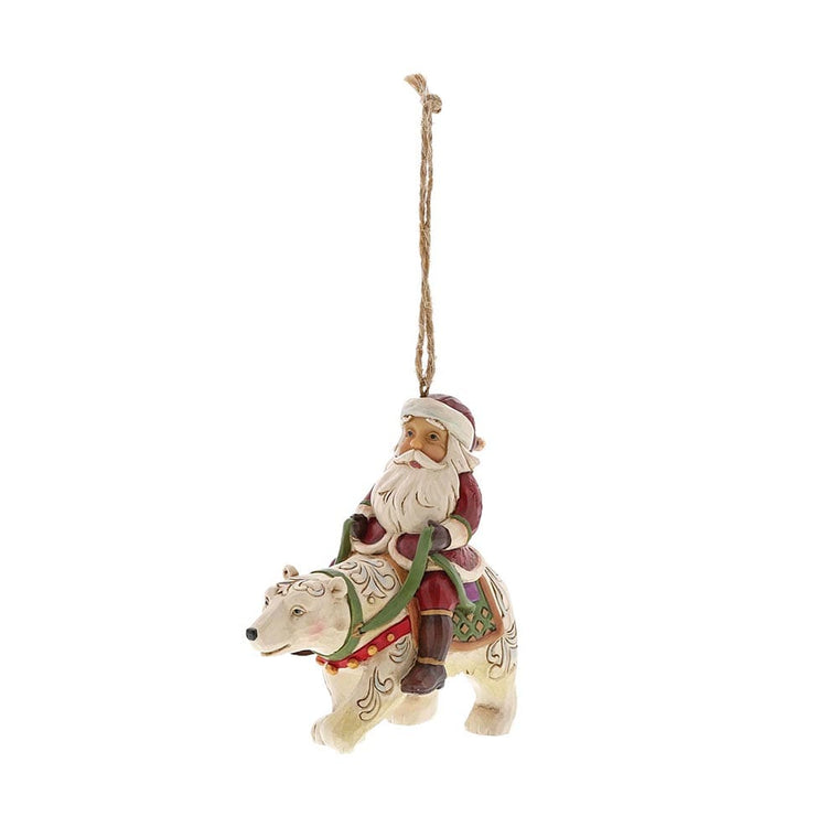 Heartwood Creek by Jim Shore Santa Riding Polar Bear - Hanging Ornament