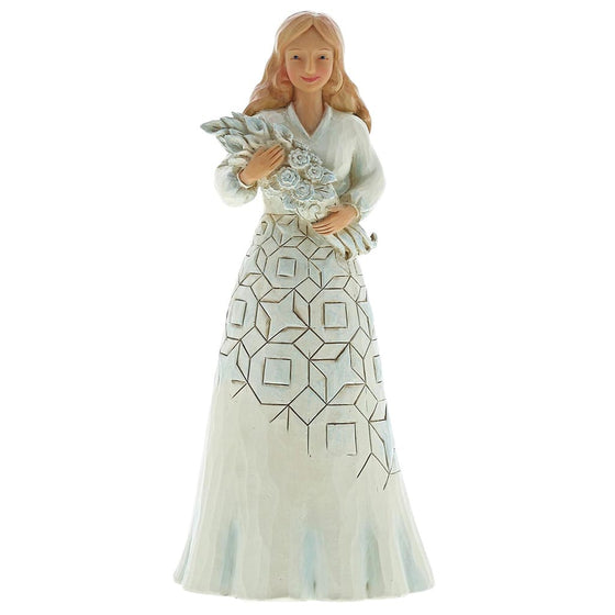 Jim Shore Wishing You A Happy Day (Girl holding flower bouquet) Figurine