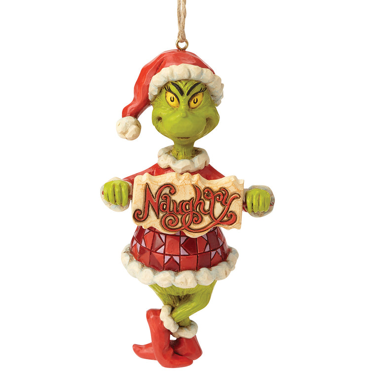 Grinch Naughty or Nice Sign Hanging Ornament - The Grinch by Jim Shore