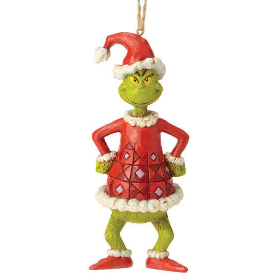The Grinch by Jim Shore Grinch Dressed as Santa (Hanging Ornament)