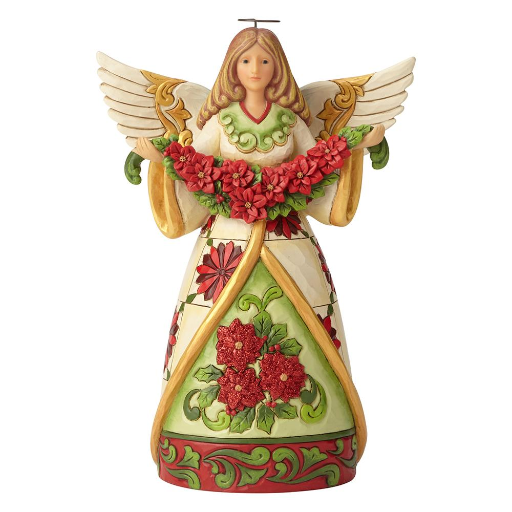 Heartwood Creek by Jim Shore Winter Beauty In Bloom (Angel with Poinsettia Garland Figurine)