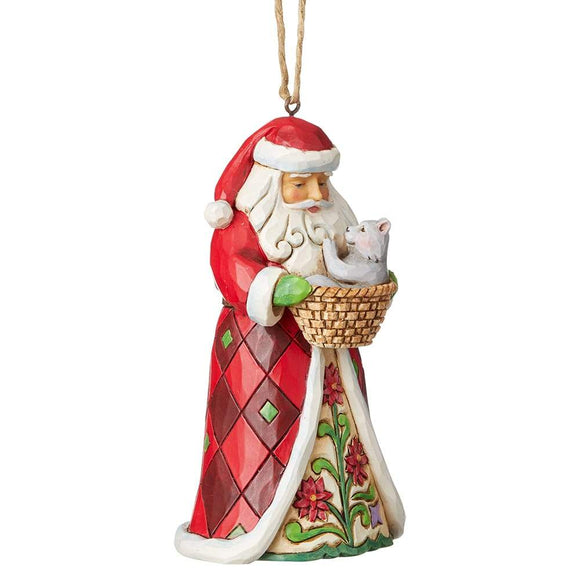 Heartwood Creek by Jim Shore Santa with Kitten (Hanging Ornament)