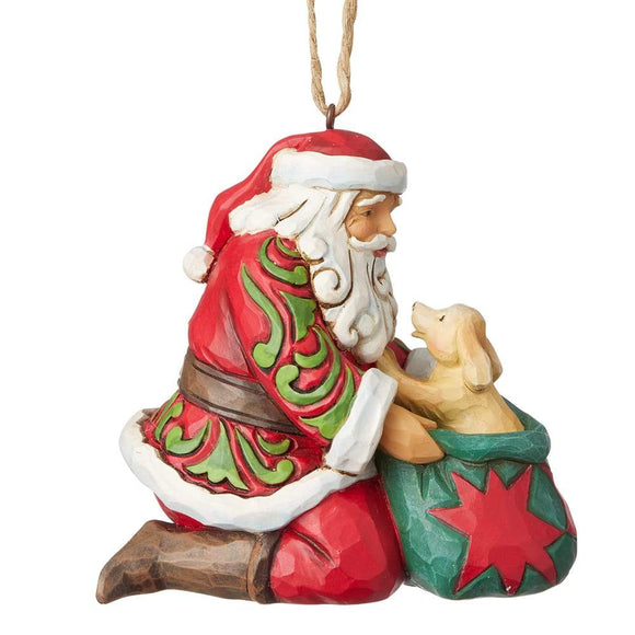 Heartwood Creek by Jim Shore Santa with Puppy (Hanging Ornament)