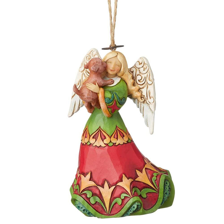 Heartwood Creek by Jim Shore Angel Holding Puppy (Hanging Ornament)
