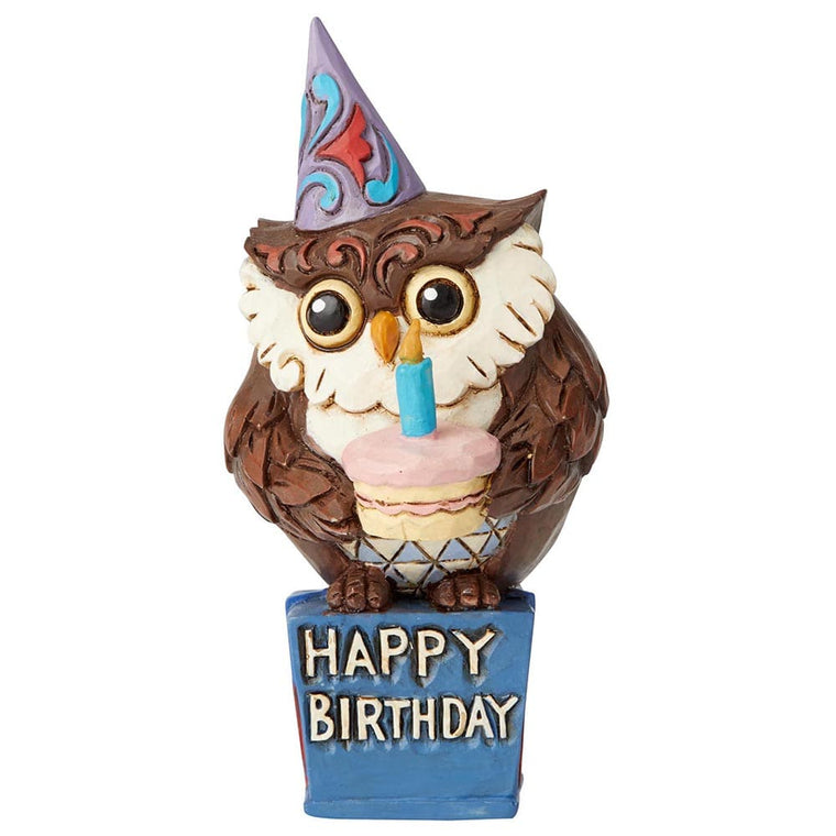 Birthday Owl Mini Figurine - Heartwood Creek by Jim Shore